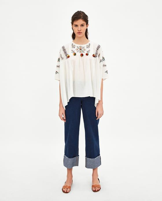 056e922ba12 Image 2 of TUNIC WITH POMPOM TRIMS from Zara Bell Sleeves, Bell Sleeve Top,