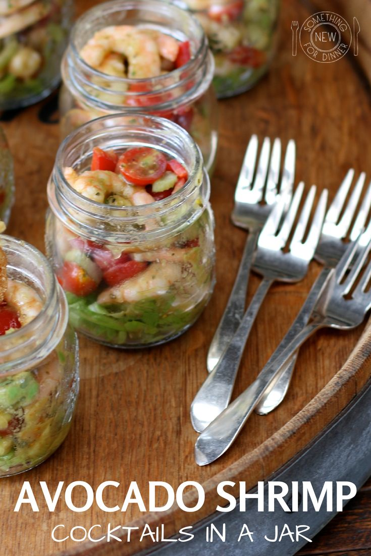 Avocado Shrimp Cocktails in a Jar - These individual appetizers are perfect for outdoor dining whether you are at the beach, at a picnic, on a boat or in your backyard.