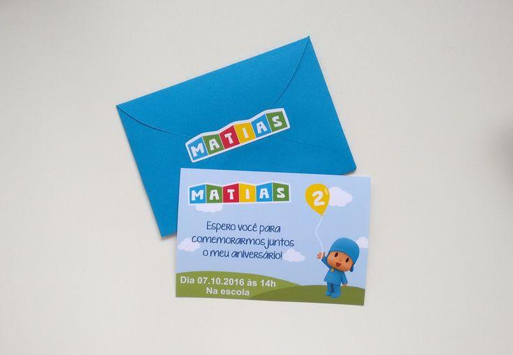 Convite Pocoyo    Confeccionado em papel fotográfico 180g, envelope de papel (cor vai conforme disponibilidade) e adesivo para fechar.    Tamanho 10 x 7 cm.    A arte será enviada por email para aprovação.  O envelope vai conforme cor disponível.  Fazemos todos os temas, consulte-nos!