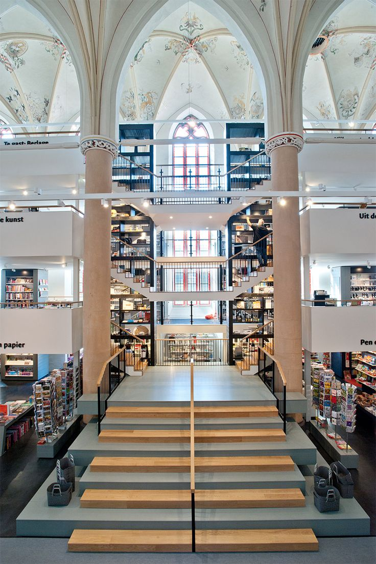 A 15th Century Cathedral Transformed into a Modern Bookstore in Zwolle, The Netherlands
