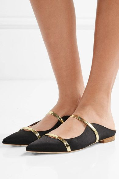 Heel measures approximately 10mm/ 0.5 inches Black satin, gold leather Slip on Made in ItalySmall to size. See Size & Fit notes.