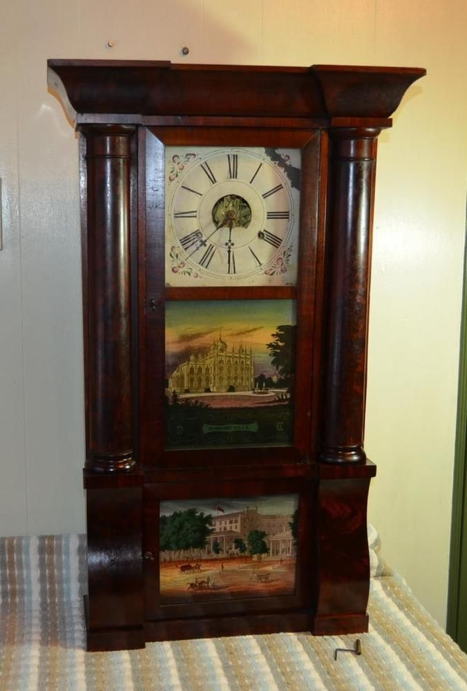 Antique Birge & Peck Co. Large Column and Cornice Extra 8 Day Mantel Clock 1830s