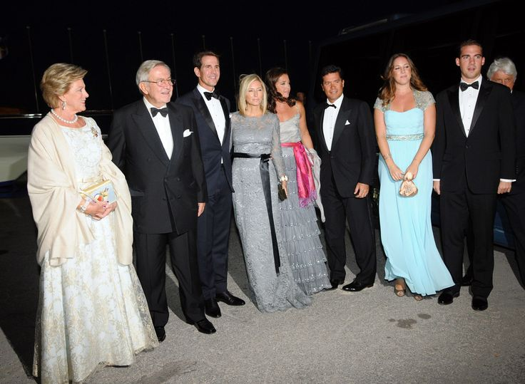 Former King Constantine II of Greece and former Queen Anne-Marie of Greece, arrive for a private dinner to celebrate their Golden wedding anniversary at the Yacht Club of Greece in Piraeus, Greece. (L-R) Queen Anne-Marie of Greece, King Constantine II of Greece, Crown Prince Pavlos of Greece, Crown Princess Marie-Chantal of Greece, Princess Alexia of Greece and Denmark, her husband Carlos Morales Quintana, Princess Theodora of Greece and Denmark and Prince Philippos of Greece and Denmark.