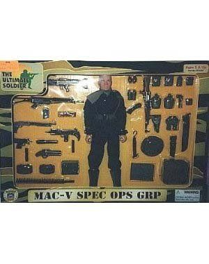 """The Ultimate Soldier """"MAC-V SPEC OPS GRP"""" by 21st Century Toys. $100.00. ammo can, AK-47 rifle, UZI, jungle shotgun, MAC-10 & silencer, Belgium FN LAR paratrooper rifle,. claymore mine bag with 2 mines, machete & sheath, rope, shotgun shells, 2 frag & 2 smoke grenades.. Includes: Black SOG fatigues, OD boonie hat, jungle boots, H-harness, web belt,. 2 canteens, 2 M-16 pouches, first aid pouch, blinker pouch, .45 pouch, scarf, 2 pocket rucksack,. SOG knife & sheat..."""