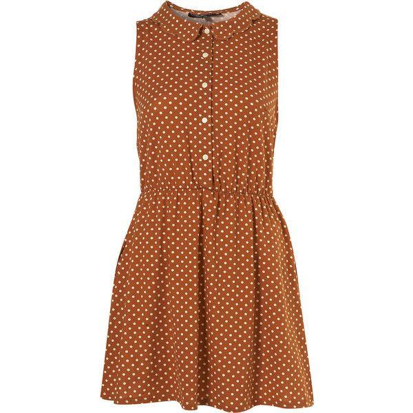 Petite Tan Spot Scallop Collar Sleeveless Shirt Dress (420 VEF) ❤ liked on Polyvore featuring dresses, vestidos, women, cotton sleeveless dress, long shirt dress, sleeveless shirt dress, shirt dress and polka dot dress