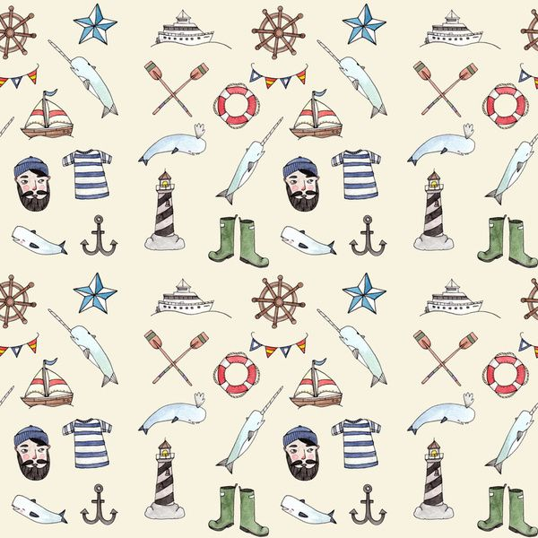 Nautical Pattern Art Print, would be great in the kids's bathroom, bedroom.