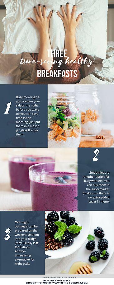 Keine Zeit für ein ausgedehntes Frühstück? Hier kommen drei Ideen, wie du schnell an ein gesundes Frühstück kommst, obwohl du keine Zeit hast: 1. Salat im Mason Jar Glas vorbereiten und auf Arbeit mitnehmen 2. Smoothies kaufen, im Kühlschrank lagern und trinken (darauf achten, dass kein extra Zucker hinzugefügt wurde - enthalten bereits genügend Fruchtzucker) 3. Overnight Oats können bereits am Wochenende für die gesamte Woche vorbereitet werden. #issgesund #pinterestideamonth…