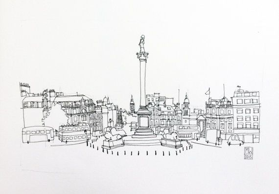 Trafalgar Square and Nelson's Column London  by QuarterPolish