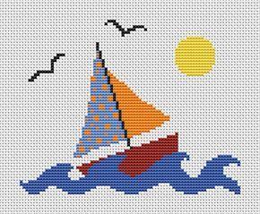 Kreuzstichmuster für Boote, Segeln gezählt Kreuzstich, Segelboot, Yacht, Meer, See, Sonne Frühlingsommer, einfache, einfache, druckbare Tabelle, PDF