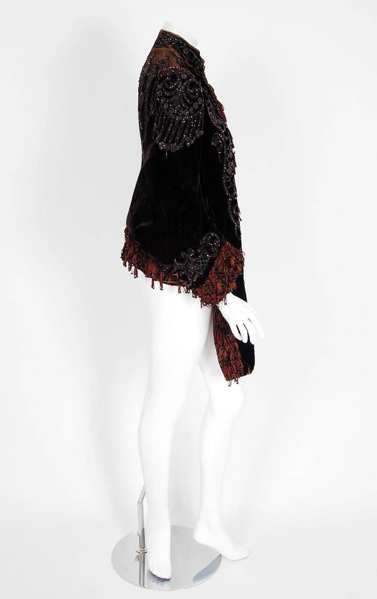 1880's Victorian Antique Couture Beaded Fringe Rust-Velvet Gothic Mantle Jacket | From a collection of rare vintage coats and outerwear at https://www.1stdibs.com/fashion/clothing/coats-outerwear/