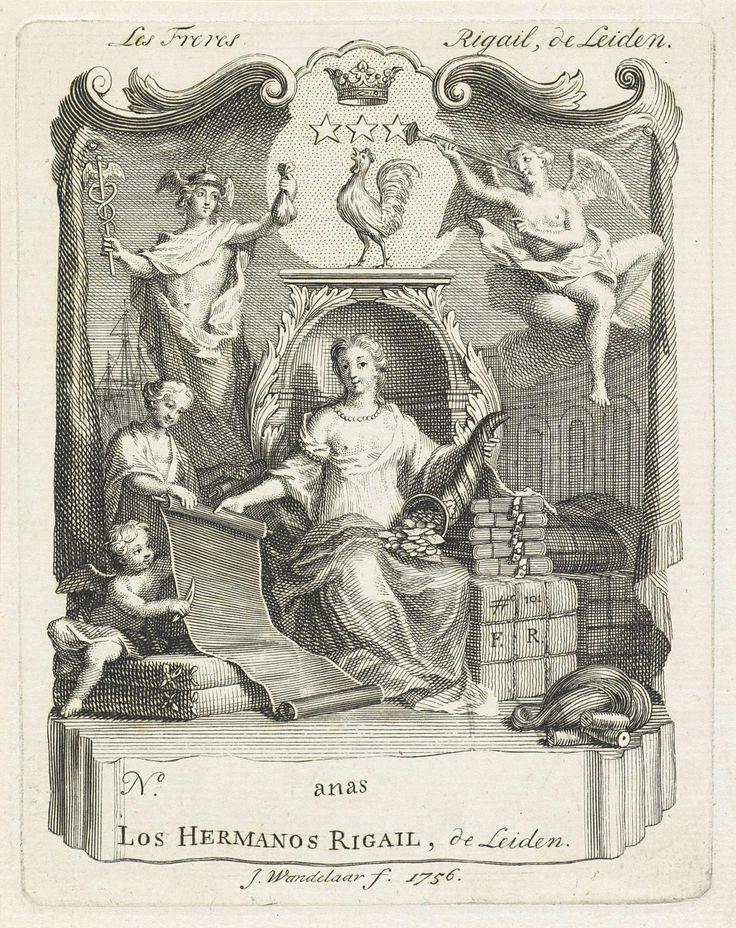 Jan Wandelaar | Handelsetiket van zijdefabrikeurs Rigail te Leiden, Jan Wandelaar, 1756 | In het midden zit een vrouw met een ontblote borst en een parelketting, mogelijk Fortuna. In haar linkerhand heeft ze een hoorn des overvloeds gevuld met geld. Met haar rechterhand houdt ze een rol stof omhoog. Naast de rol zit een putto. Rechts staan verpakte goederen. Op één van de verpakkingen staat '#o 101' en het monogram F.R., waarschijnlijk François Rigail, een Leidse fabrikeur van zijde. Voor de…