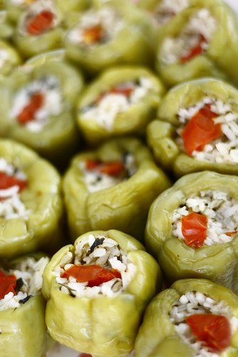 Dolma is a common meal eaten by Turkish families. It is stuffed green pepper with tomatoes, zucchini, vine leaves with ground minced meat, rice and ground onions