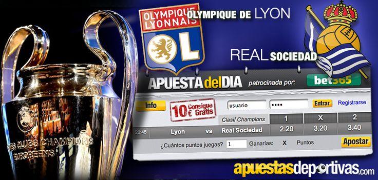 La Real Sociedad se juega hoy el conseguir ventaja de cara a la clasificación para la Champions League, su rival, el Lyon, ¿apostaréis a favor de los españoles o de los franceses en la Apuesta del Día? ¡Suerte con vuestra apuesta deportiva!