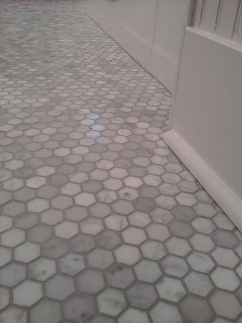 "Bathroom tile dream: Tile Work: 1"" marble hex tile with 'Delorian' grey grout"