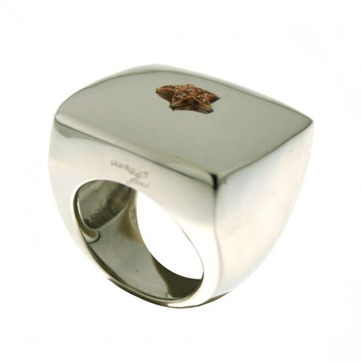 Anello argento rodiato quadrato