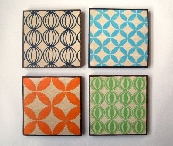 Vintage Geometric designs Set of 4 Art Blocks  green by Lunartics, €75.00