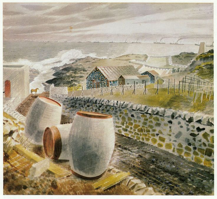 WWII Convoy Passing an Island, Eric Ravilious vintage print 1983 ready mounted