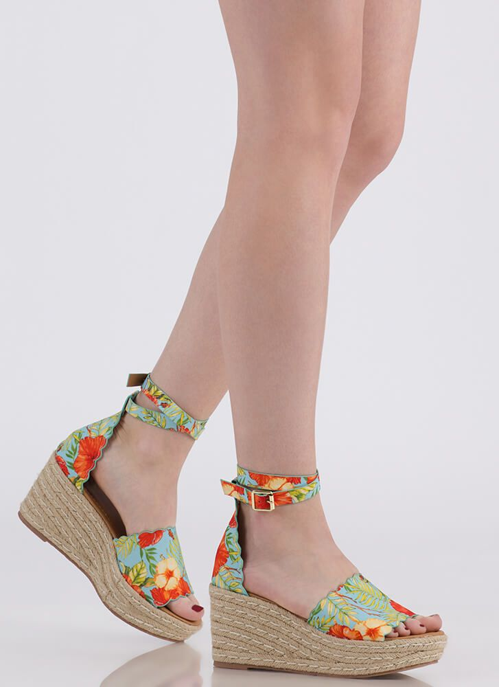 8eff958eb56b Going Tropical Floral Espadrille Wedges  29.10
