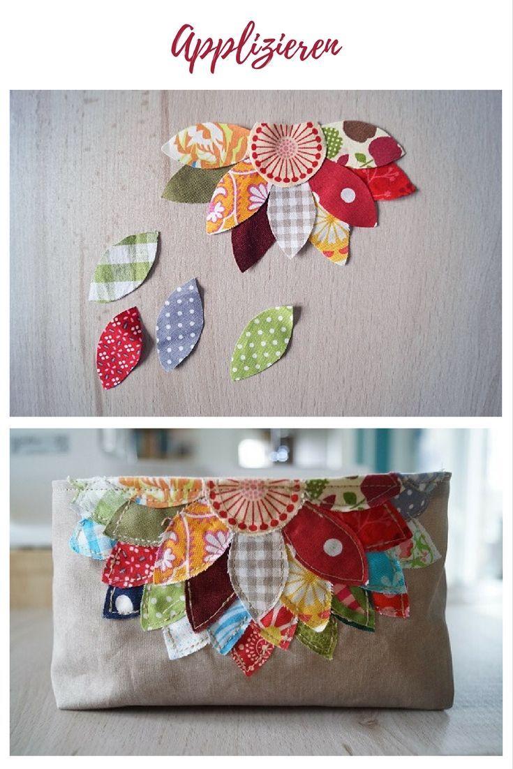 Applique, Feuilles, Fleur, Tissu en coton, Idées de restes de vêtements, Idée…