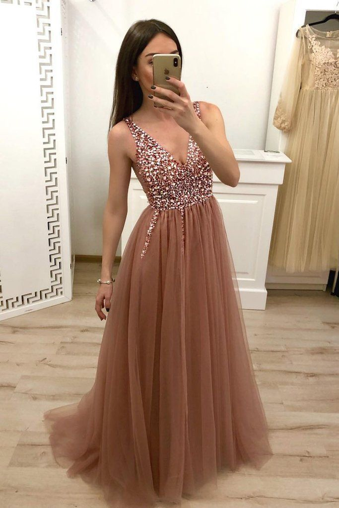 Eine Linie V-Ausschnitt Tüll lange Perlen Abendkleid, billiges Abendkleid OKH