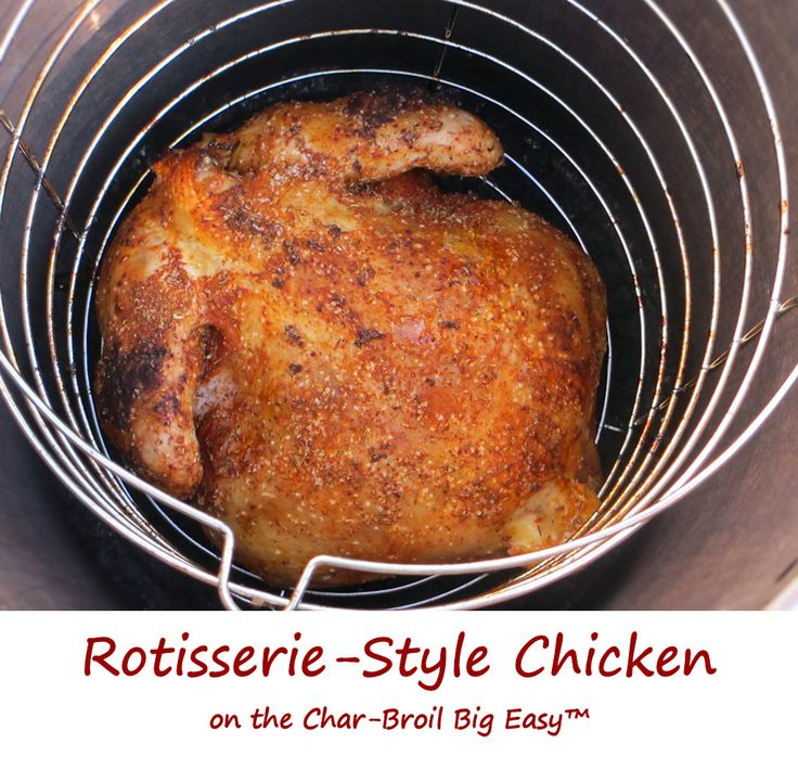I've been hankerin' for that rotisserie chicken flavor, but without having to get a rotisserie accessory for my grill. The solution? Rotisserie-style chicken done up right on the Char-Broil Big Easy. As with all chicken done on the Big Easy, the end result is moist, tender and packed with flavor. And yes, it has the best crispy skin ever!