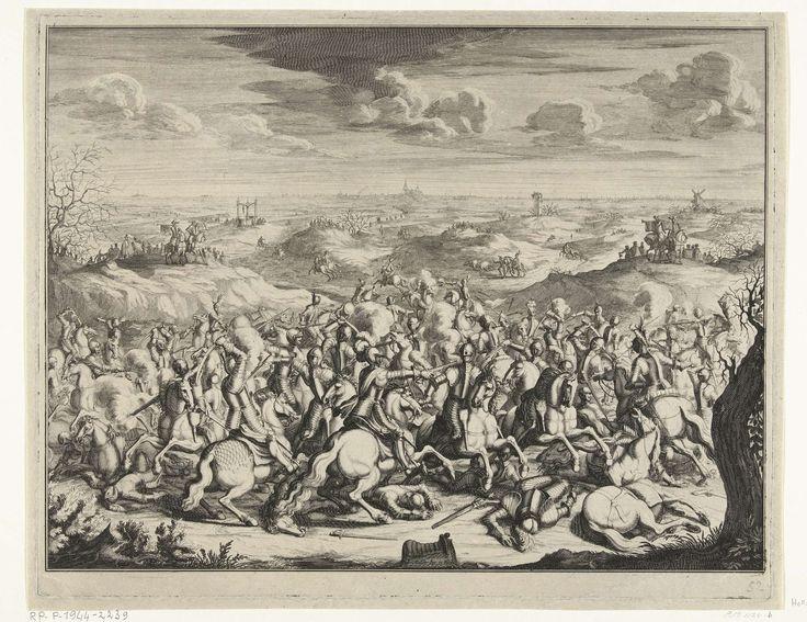 Joseph Mulder | Slag van Lekkerbeetje, 1600, Joseph Mulder, 1682 - 1684 | Het gevecht van Lekkerbeetje. Ruitergevecht op de Vughterheide bij Den Bosch tussen de Spaanse ruiters onder Anthony Schetz van Grobbendonck en de Staatse ruiters onder de Pierre de Breauté, 5 februari 1600. In de verte 's-Hertogenbosch.