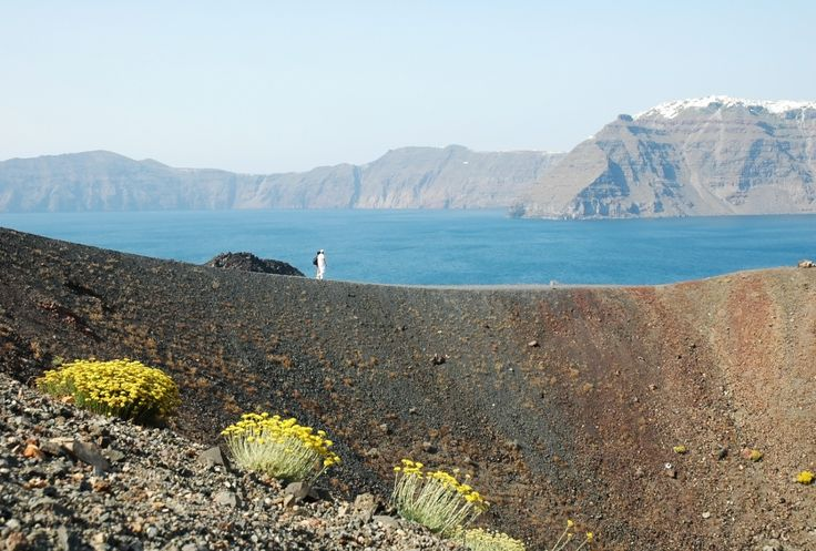 Santorini volcano and view on the Santorini island