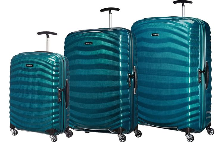 Samsonite Lite-Shock 3 Piece Hard Suitcase Set 4-Wheel Spinner Petrol Blue + Free Universal Travel Adaptor - Samsonite Lite-Shock - Samsonite Luggage - Brands