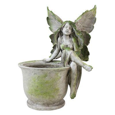 Exhart Fairy Sitting On Pot Garden Statue   30068