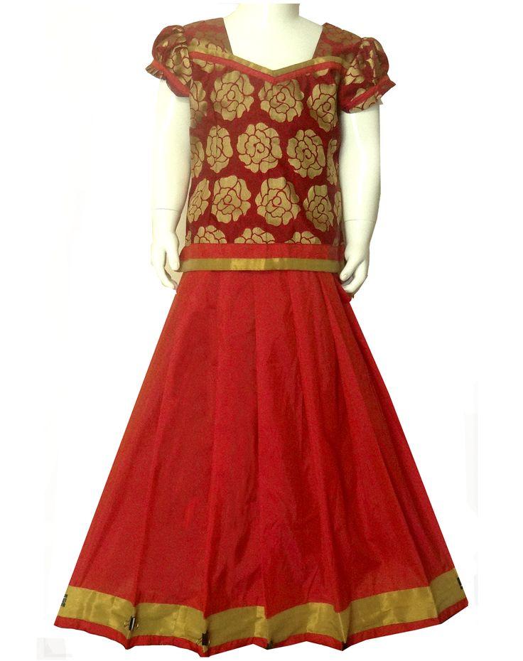 #readymadePattupavadai #kidspattupavadai red with golden Pattu pavadai