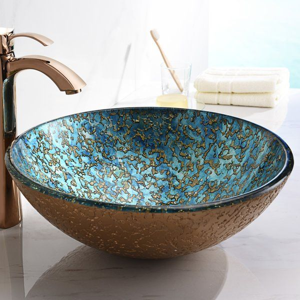 This Anzzi Chrona Series Sink Is A Traditionally Crafted Round Vessel Sink Adorned In A Gold Cyan Mix Finish Eac Bathroom Sink Small Bathroom Sinks Glass Sink