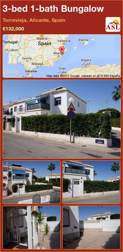3-bed 1-bath Bungalow in Torrevieja, Alicante, Spain ►€132,000 #PropertyForSaleInSpain