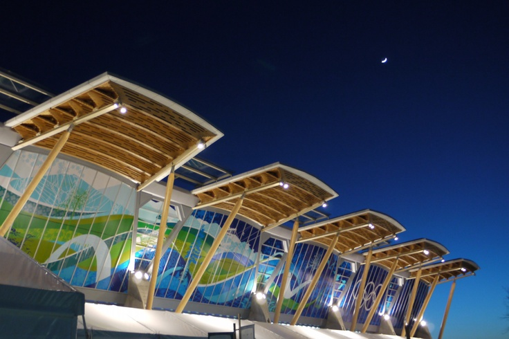 the sun setting on and the moon rising over the Richmond Olympic Oval, Vancouver Olympics 2010...we watched Shani Davis take gold for and Chad Hedrick take bronze for U.S.A.