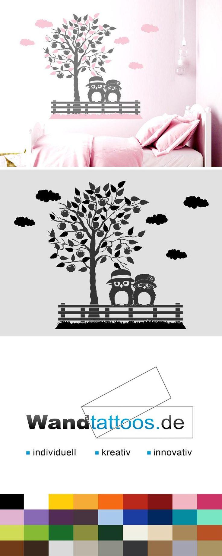 Wandtattoo Eulenpärchen unterm Apfelbaum als Idee zur individuellen Wandgestaltung. Einfach Lieblingsfarbe und Größe auswählen. Weitere kreative Anregungen von Wandtattoos.de hier entdecken!