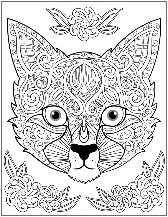 Cat Zentangle Coloring Page