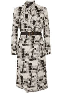 Fall and winter outfit. Donna Karan New York, Belted jacquard coat.