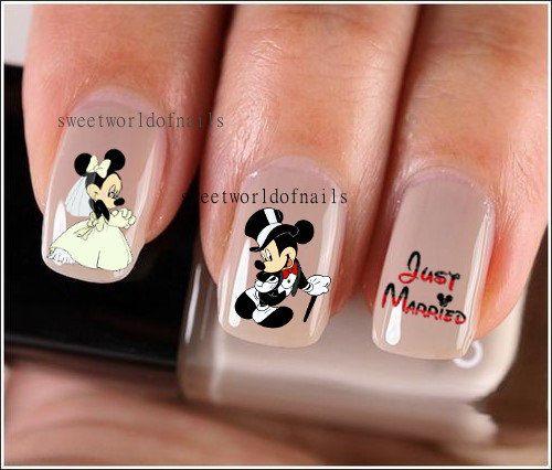 Nail Art Nail Water Decals / Transfers/ Nail Wraps/ Wedding Nail Art Wedding Nails Mickey Minnie Mouse Disney Nails on Etsy, 1,86€