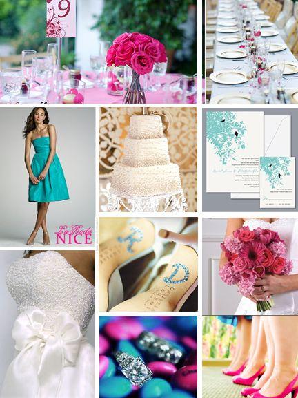 Boda Rosa Mexicano / Azul / Blanco Hot Pink / Blue / White Wedding