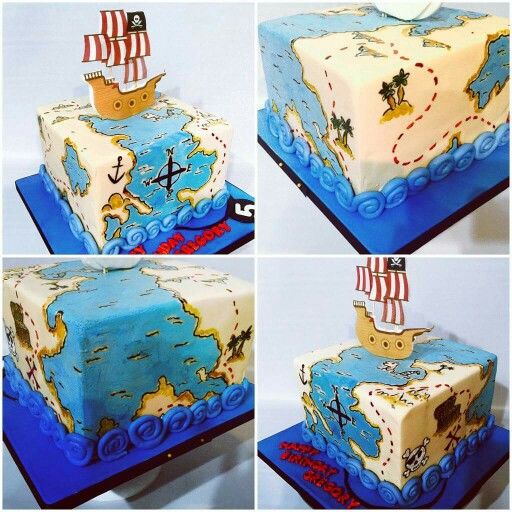 treasure map cake hand painted.
