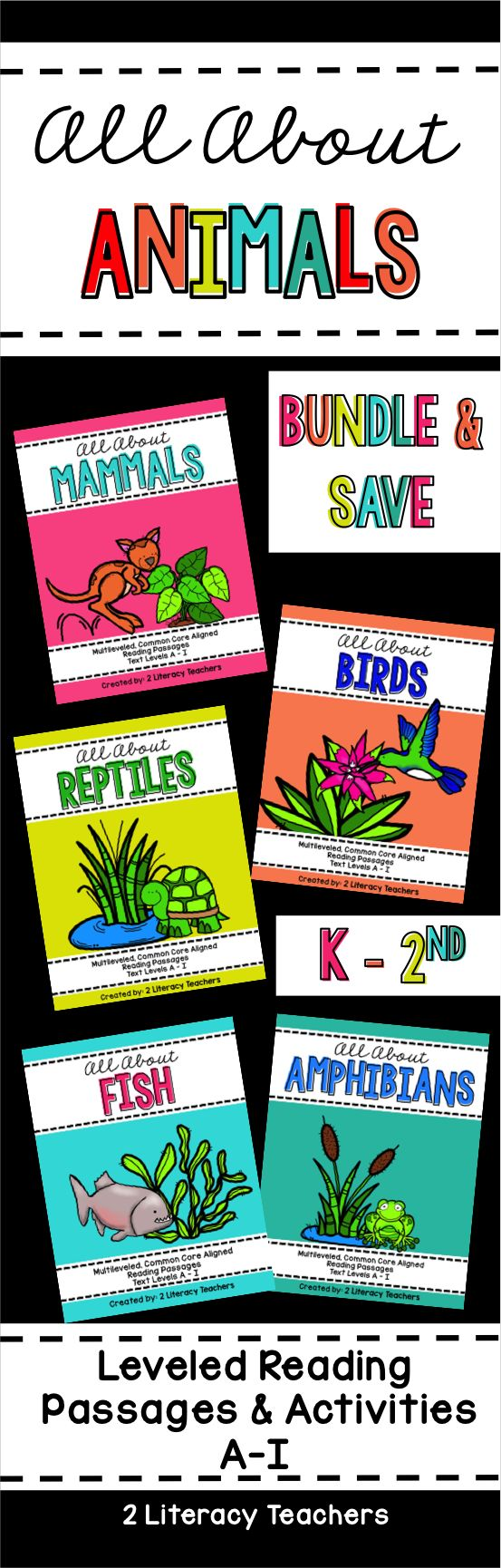 All About Animals is a Bundled set of leveled reading passages and activities. Perfect to support ALL readers in your K-2 classroom that are reading at a level H/I and below! Fish, Amphibians, Mammals, Birds and Reptiles are all included in this bundles. There are 4-6 titles on each animal topic. Great for whole group, small group, guided reading and homework! An easy way to differentiate!