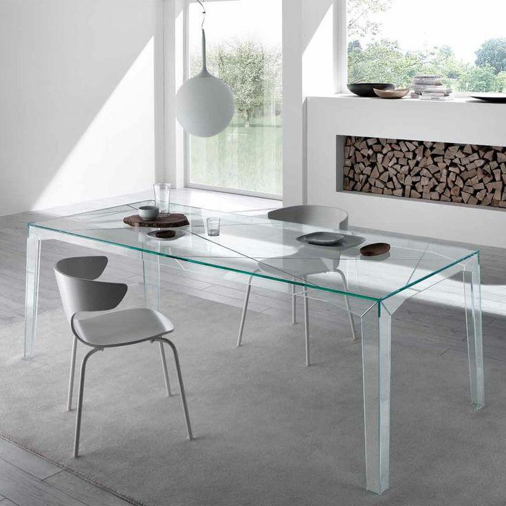 Mesa de comedor fragments vidrio transparente mesas for Mesa comedor vidrio