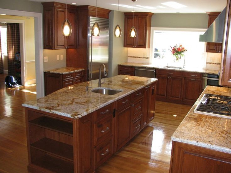 25 best ideas about kitchens with cherry floors on for Kitchen designs with cherry cabinets