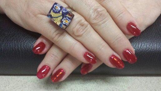 Red with diamonte's (wearing Murano Glass ring - murrine & glass sheeting styles)