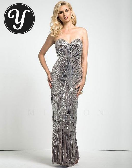 Mignon - Silver Sweetheart neck all over beaded gown, To see more gowns - http://yurn.it/profile/yurnit1/board/emmy-inspired-gowns/?t=149160