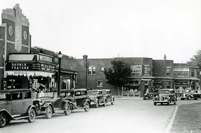 Westdale traffic circle & Westdale theatre opened September 1935. First theatre in Hamilton with A/C and built specifically for sound motion pictures