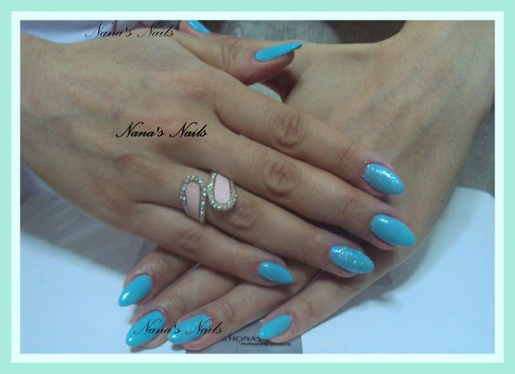 Almond Gel Nails Turqoise