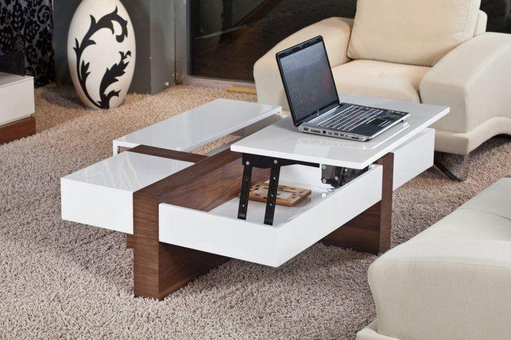 Trendy White And Square Lift Top Coffee Table Contemporary