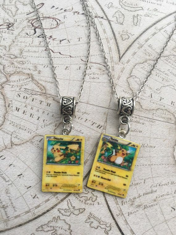BFFs Miniature Pikachu Raichu Pokemon Card Necklaces by MoonKittyCreations03