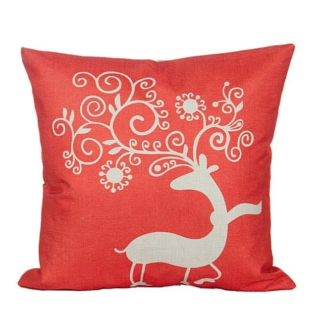 Tronzo Hot Christmas Decorations For Home Reindeer Jute Pillow Cover Case Merry Square Linen Kerst Noel