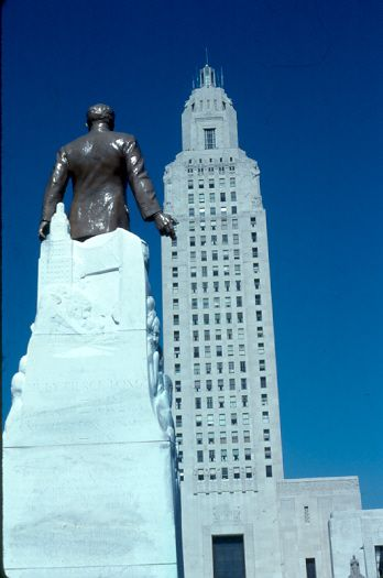 The Louisiana State Capitol, Baton Rouge, Louisiana, with the statue of Huey Long in the foreground